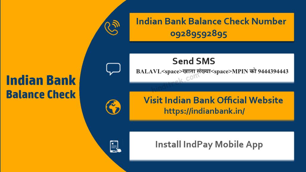 इंडियन बैंक बैलेंस चेक