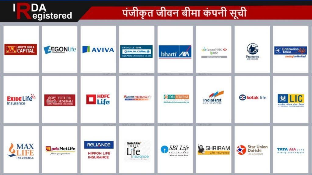 आईआरडीए पंजीकृत जीवन बीमा कंपनियों की सूची