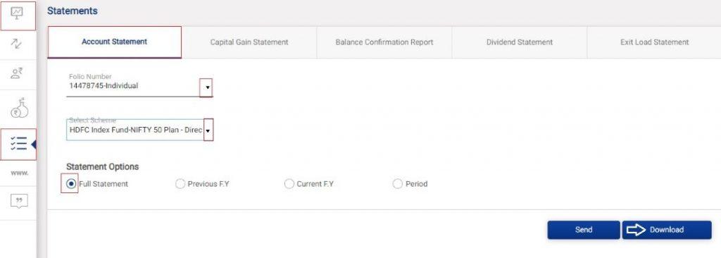 एचडीएफसी म्युचुअल फंड स्टेटमेंट डाउनलोड